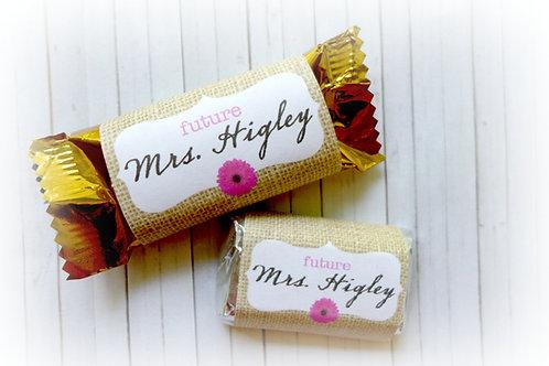 Bridal Shower Mini Chocolate Bar Digital Label