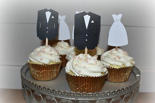 Bride and Groom Cupcake Picks