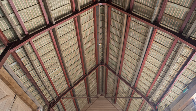 Hay barn roof trusses and oak laths