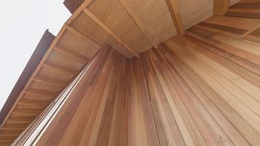 Cedar cladding to new building