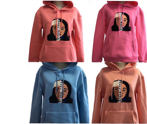 Embroidered Face Hoodie
