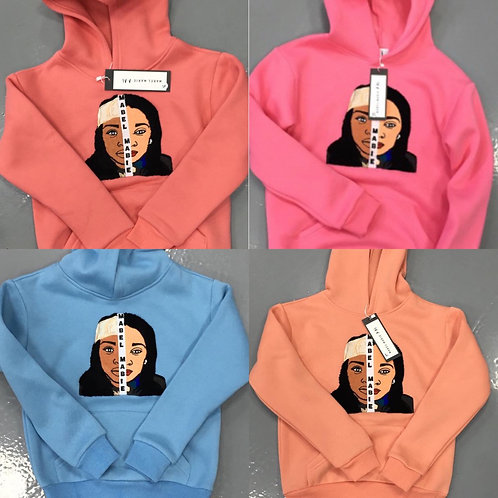 Children face embroidered hoodie