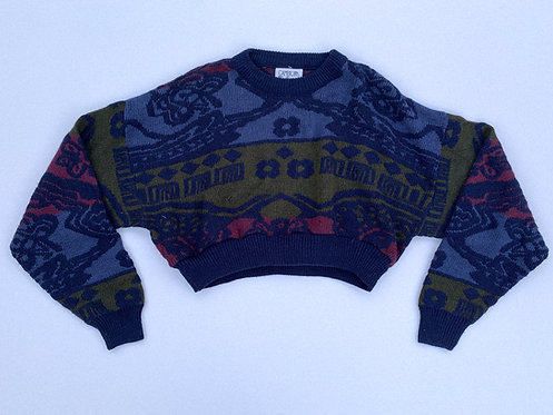 Big Print Blues Crop Sweater