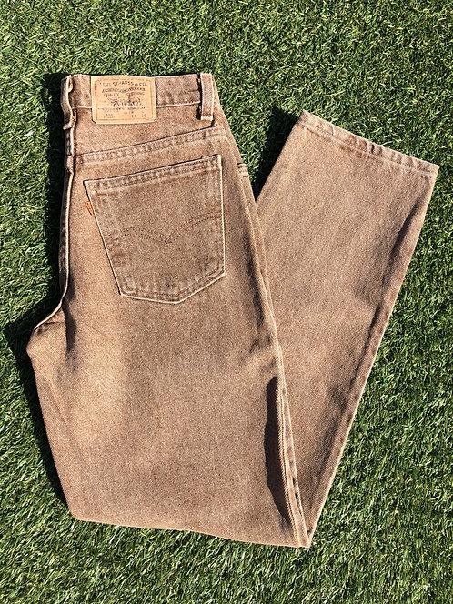 90s Levi's Made in USA 550 Orange Tab Brown Stone Denim