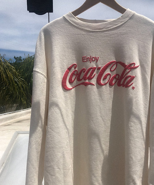 90s Coca Cola Cream Classic Crew XL