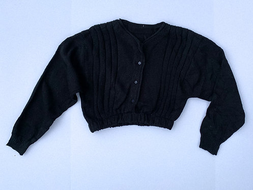 Black Thick Knit Crop Cardigan