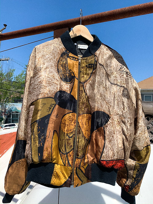 90s Picasso Silk Brown Neutrals Bomber Jacket M