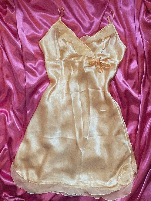 Y2k Princess Peach Midi Ruffle Princess Silky Slip XS