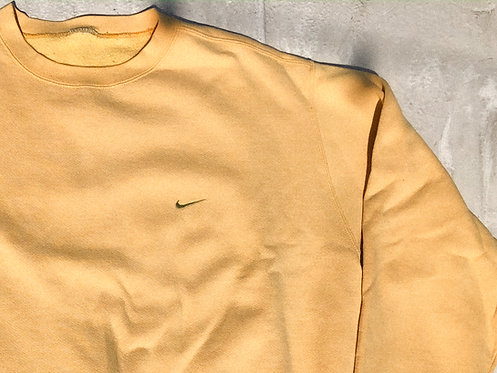 90s Nike Pastel Yellow Chest Logo Crew XL