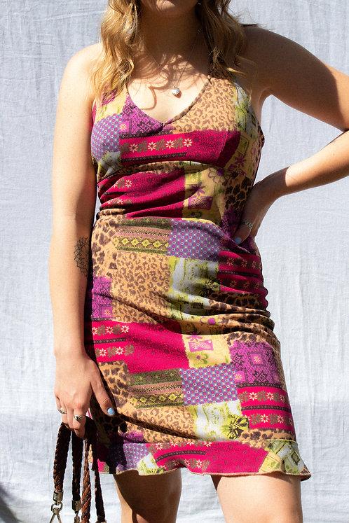 90's BBG CUTE AF Patchwork Halter Dress M