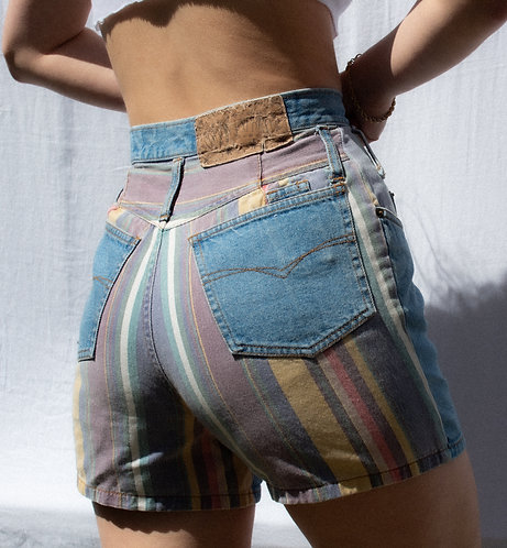 "27"" 90s ""Cotton Express"" Faded Color Block Pattern Denim Shorts"