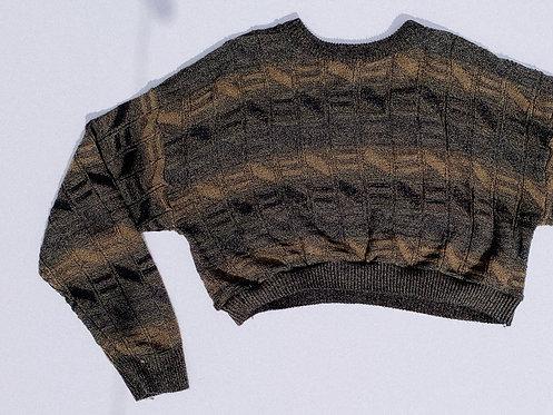 Chunky Brown Multi-Pattern Crop Sweater