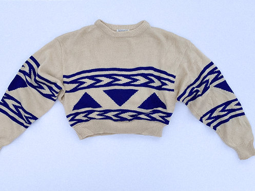 Cream & Blue Aztec Stripe Crop Sweater