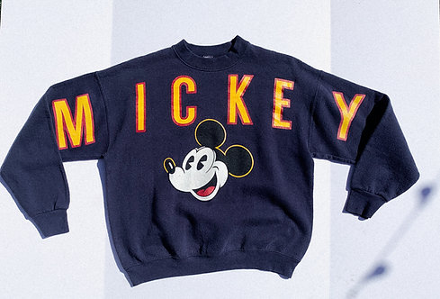 90's insane Mickey Spell-out Varsity Crew S-M