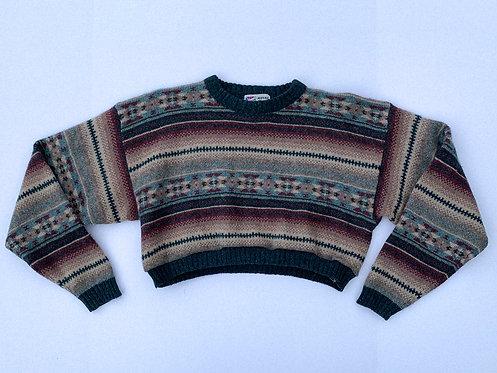 Desert Tones Pattern Crop Sweater