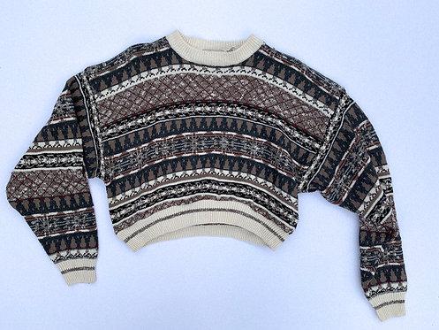 Grey Neutral Pattern Crop Sweater