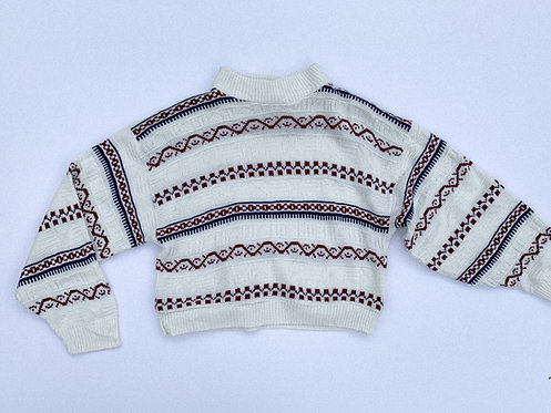 White Patterned Mock Neck Crop Sweater
