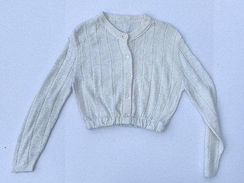 Vintage White Crop Cardigan