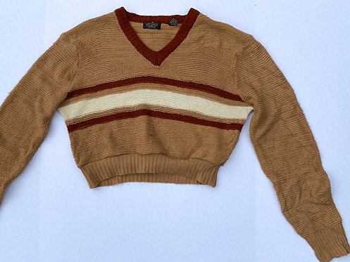 70's Heavy Knit V-Neck Tan Crop Sweater