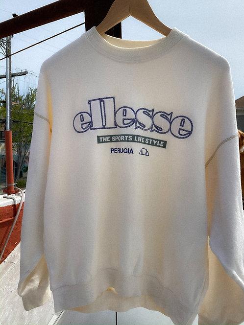 90s Ellesse Cream Perf Boxy Fleece Crew L