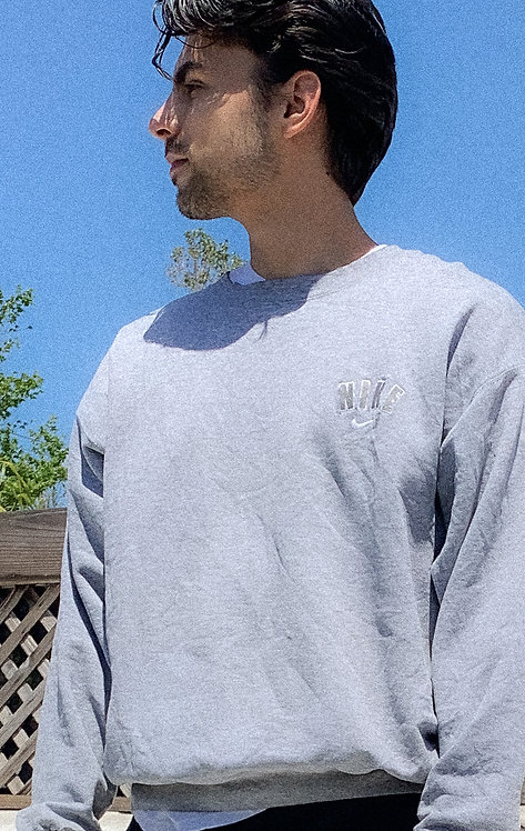 90s Nike Thrashed Heather Chest Block Letter Crew L/XL