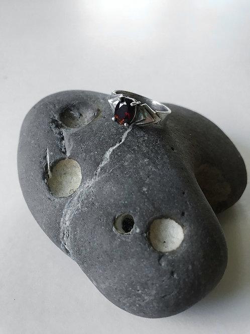 Deep Red Gem Sterling Ring