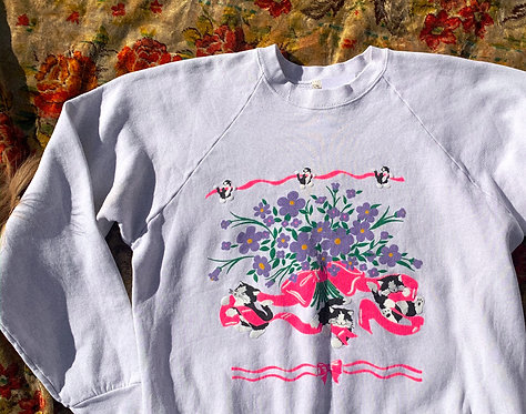 VTG Kitty Cute AF Classic Crew LARGE