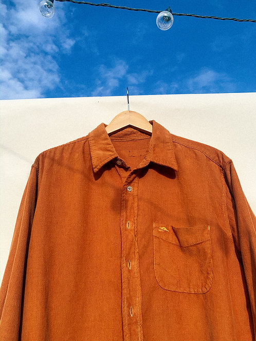 Desert Orange Micro-Corduroy Button