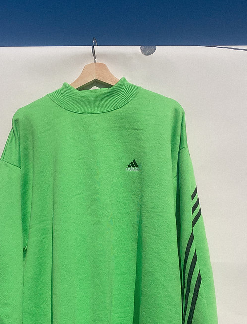 90s Slime Green Adidas Mock Neck Crew L/XL