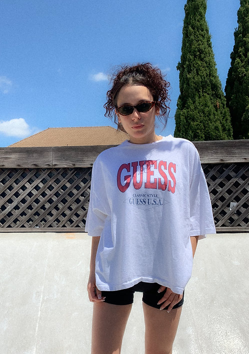 1991 Guess Varsity Letter Oversized Crop Tee