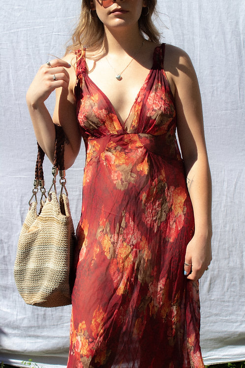 VTG STUNNING Romantic Floral Sheer Market Dress 'AS IS' S