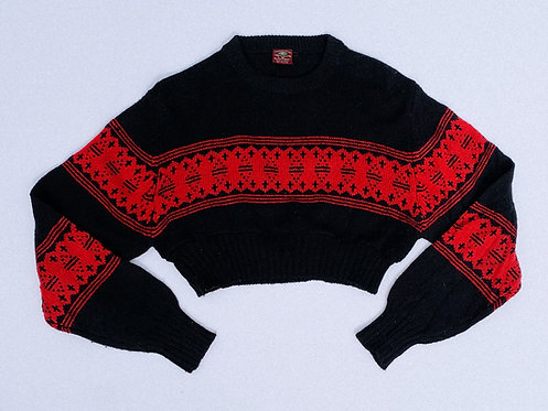 Black & Red Ski Stripe Crop Sweater