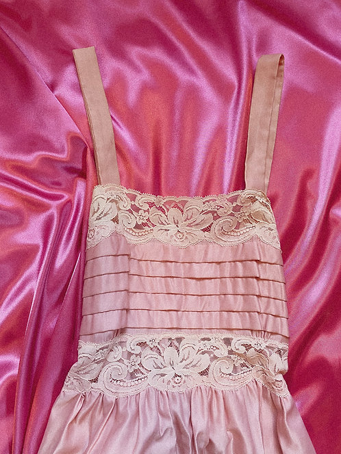 VTG Dusty Rose Satin Lace Detail Duster Gown S/M