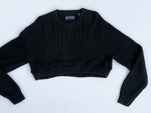 Chaps RL Black Heavy Knit Crop Sweater