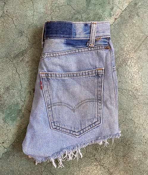 "27"" 90s Levi's Lightwash Denim Cutoffs"