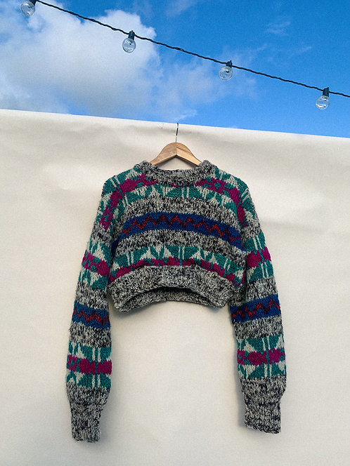 Big Knit Multi Color Pattern Crop Sweater
