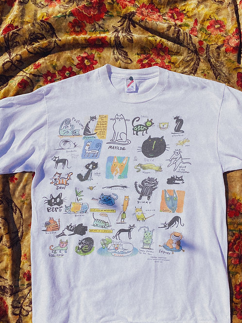 90's SICK All Over Cat Print Art Tee L-XL