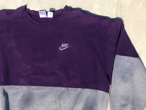 90s Nike Two-Tone Purp & Heather Chest Logo Crew L/XL