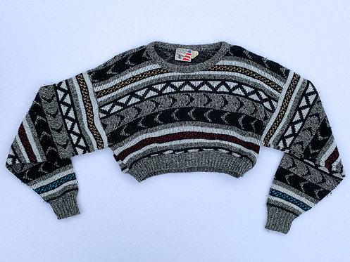 Grey & White Zig Crop Sweater