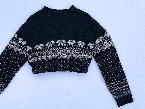 Chunky Black Ski Pattern Crop Sweater