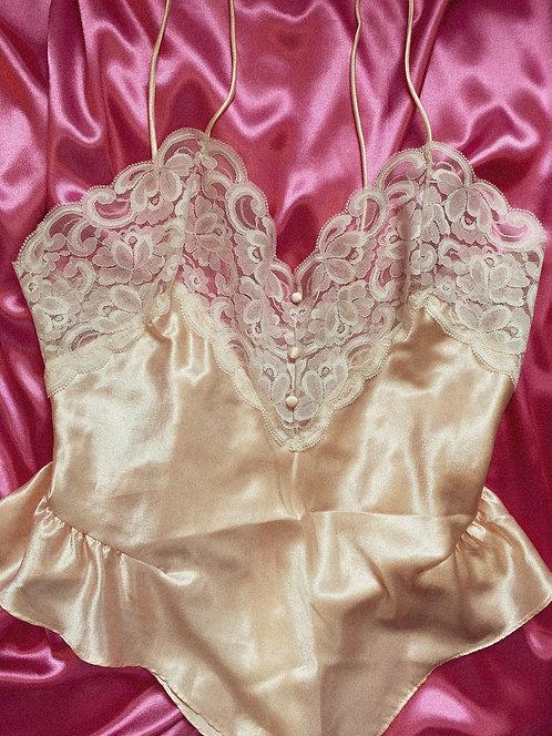 VTG light pink silk teddy with ivory silk trim M/L