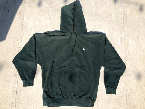 90s Nike Ivy Green Chest Logo Hoodie M