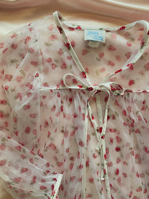 VTG USA Made Pretty Sheer Rose Duster S