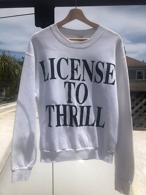 "1989 ""License to Thrill"" Drag Race Crew M/L"
