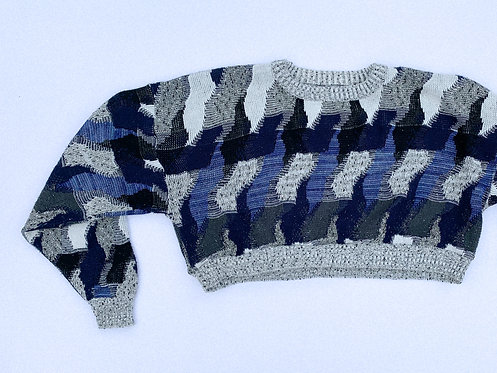 Hazy Blues Pattern Crop Sweater