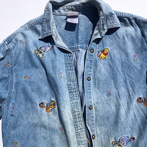 90's Winnie + Friends CUTE ASF Denim Button S-M