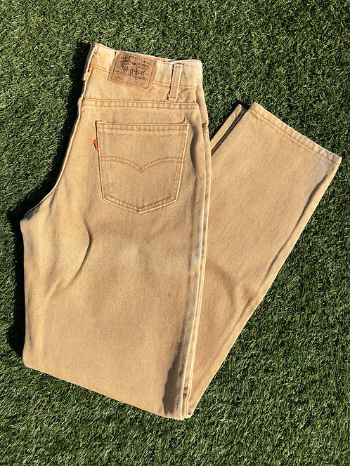 "90s 29"" Levi's 550 Made in USA Stone Yellow Denim"