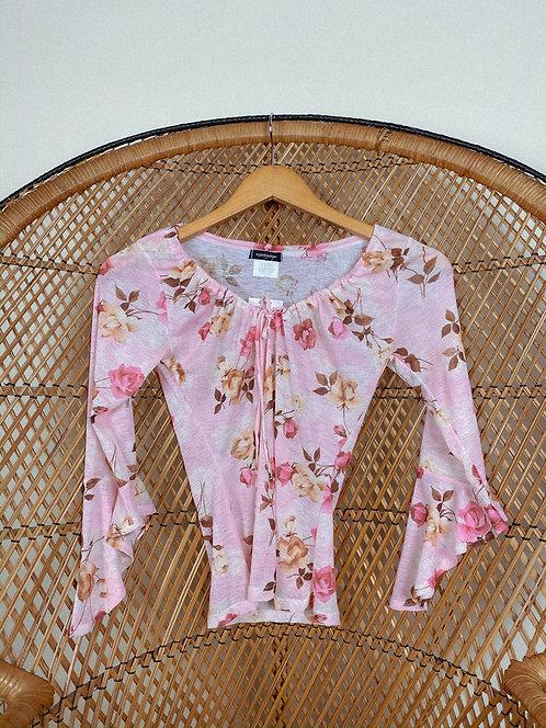 90's Sheer Floral Sabrina AF Lovely Top S