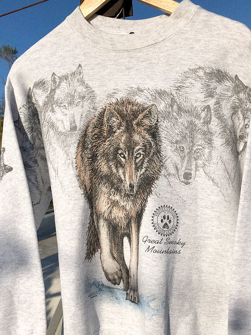 90s Wolfpack All Over Print Crewneck