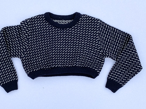 Chunky White & Navy Knit Crop Sweater